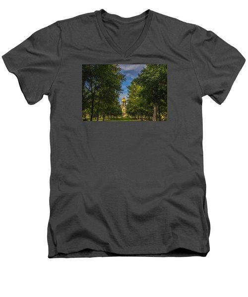 Notre Dame University 2 Men's V-Neck T-Shirt by David Haskett