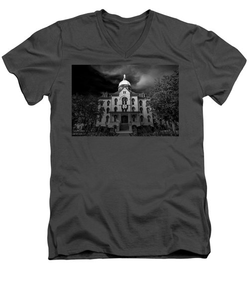 Men's V-Neck T-Shirt featuring the photograph Notre Dame University Black White 3a by David Haskett