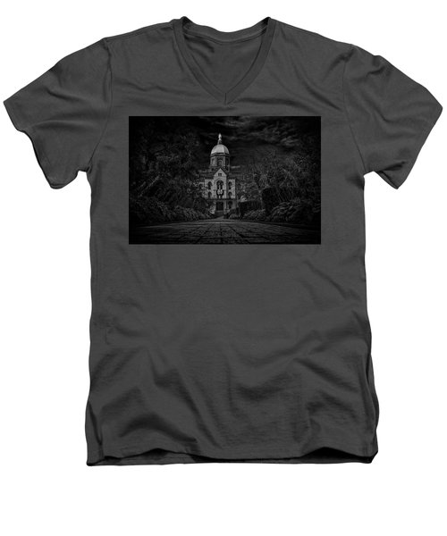 Men's V-Neck T-Shirt featuring the photograph Notre Dame University Golden Dome Bw by David Haskett