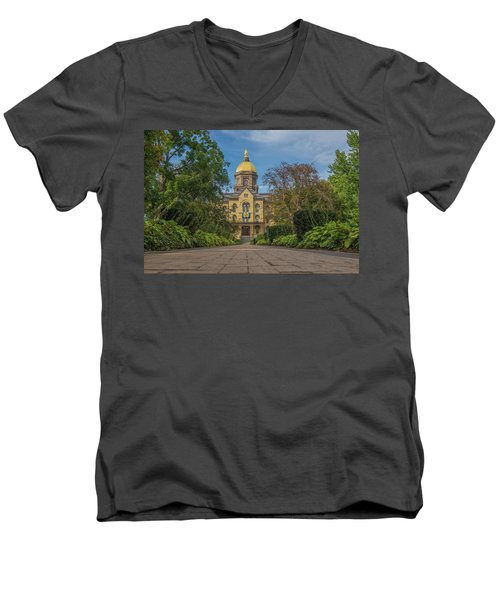 Men's V-Neck T-Shirt featuring the photograph Notre Dame University Q by David Haskett