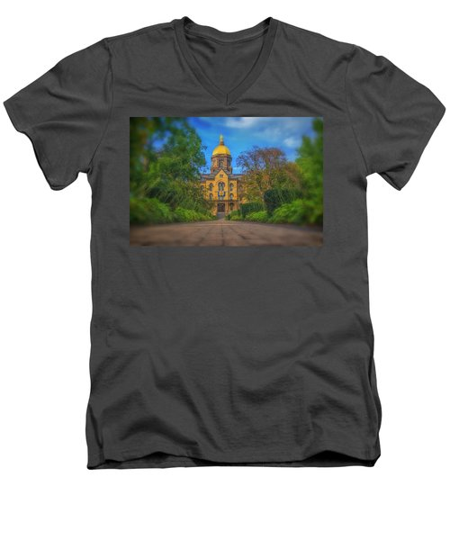 Men's V-Neck T-Shirt featuring the photograph Notre Dame University Q2 by David Haskett