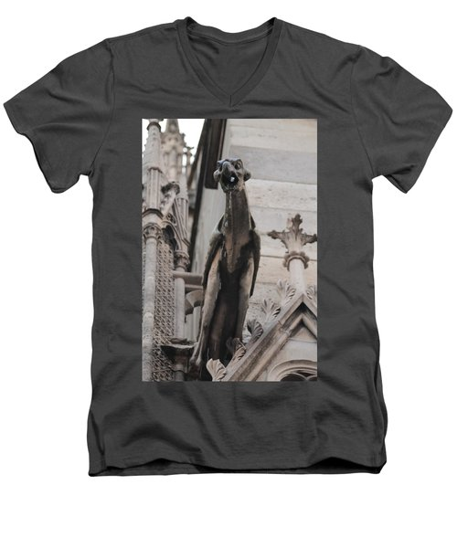 Men's V-Neck T-Shirt featuring the photograph Rain Spouting Gargoyle. by Christopher Kirby