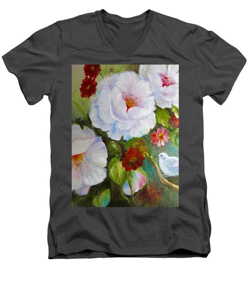 Men's V-Neck T-Shirt featuring the painting Noubliable  by Patricia Schneider Mitchell