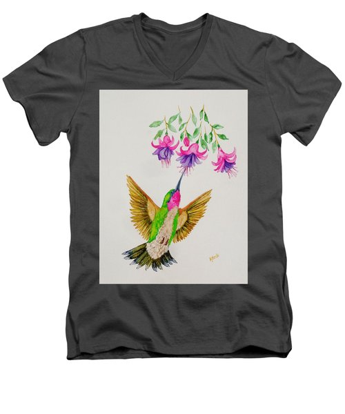 Men's V-Neck T-Shirt featuring the painting Nourishment  by Katherine Young-Beck