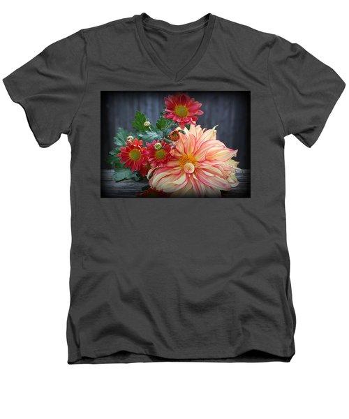 November  Flowers - Still Life Men's V-Neck T-Shirt by Dora Sofia Caputo Photographic Art and Design