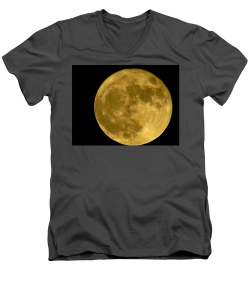 Men's V-Neck T-Shirt featuring the photograph November Full Moon by Eric Switzer