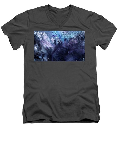 November Rain - Contemporary Blue Abstract Painting Men's V-Neck T-Shirt