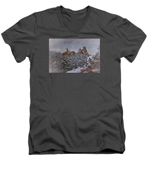 Men's V-Neck T-Shirt featuring the photograph November Snow - Garden Of The Gods by Ellen Heaverlo