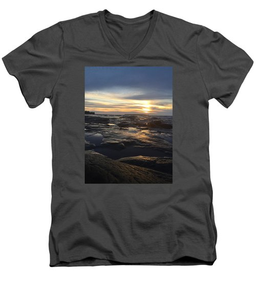 Men's V-Neck T-Shirt featuring the photograph November Sunset On Lake Superior by Paula Brown