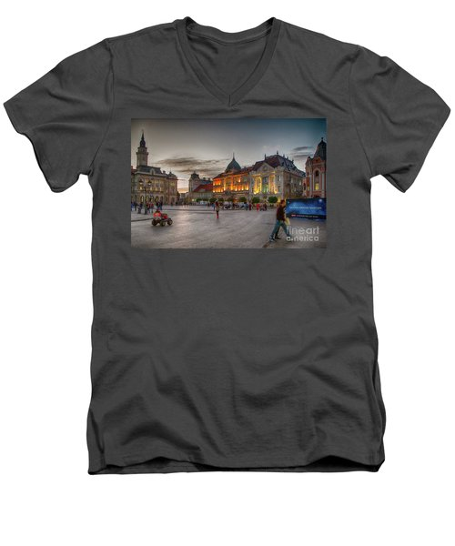 Novi Sad Liberty Square At Twilight Men's V-Neck T-Shirt