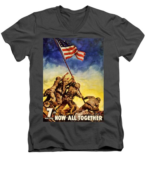 Now All Together Vintage War Poster Restored Men's V-Neck T-Shirt