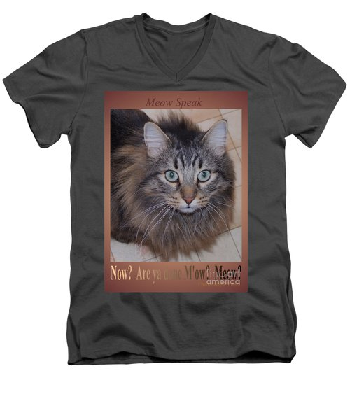 Men's V-Neck T-Shirt featuring the photograph Now? Are You Done M Ow? Meow? by Marianne NANA Betts