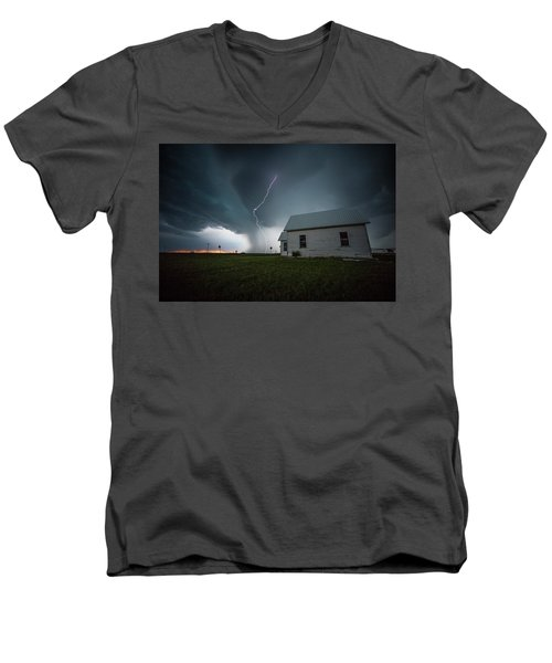 Men's V-Neck T-Shirt featuring the photograph Nowhere To Run by Aaron J Groen