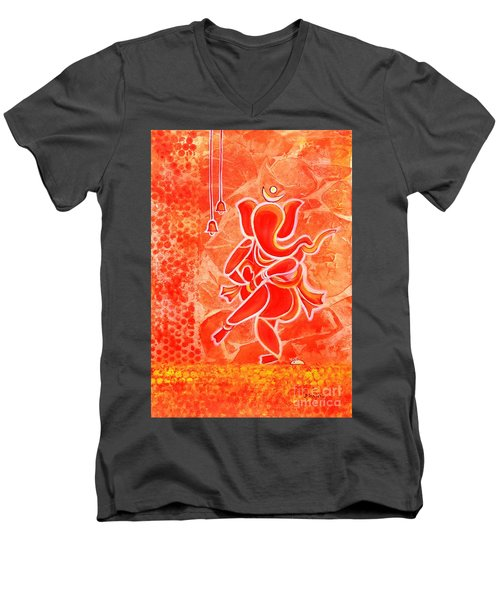 Nritya Ganesha- Dancing God Men's V-Neck T-Shirt