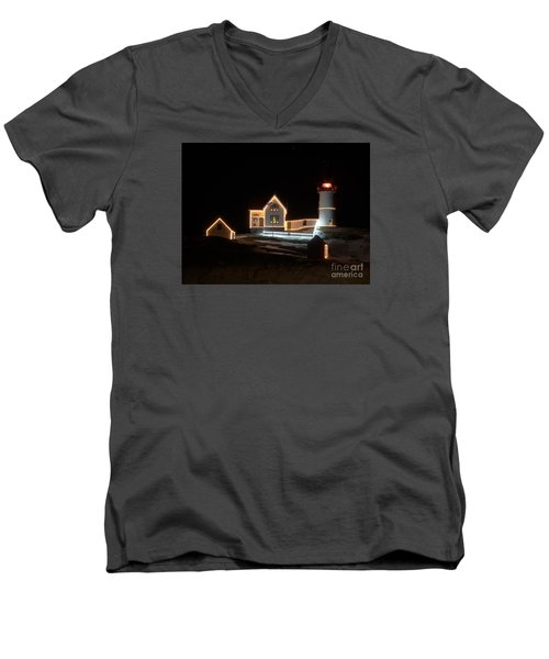 Nubble At Night Men's V-Neck T-Shirt by Patrick Fennell