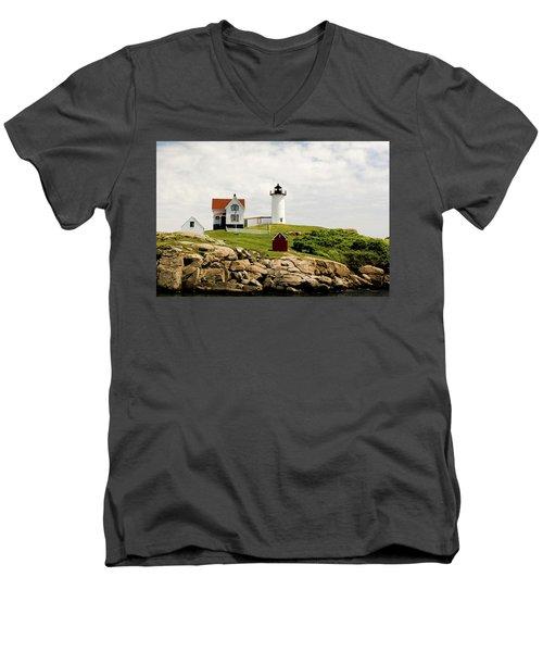 Nubble Light House  Men's V-Neck T-Shirt
