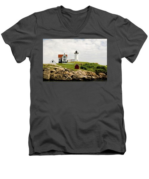 Nubble Light House  Men's V-Neck T-Shirt