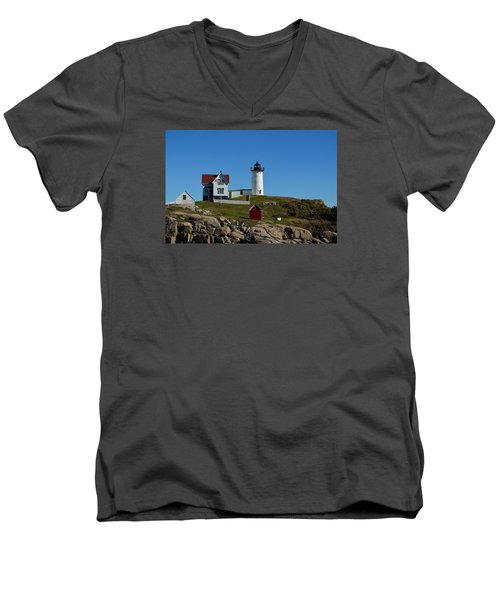 Men's V-Neck T-Shirt featuring the photograph Nubble Lighthouse In Ogunquit  by Richard Ortolano