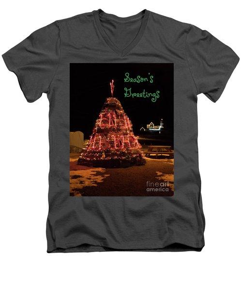 Nubble Light - Season's Greetings Men's V-Neck T-Shirt