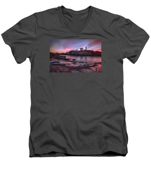Nubble Lighthouse At Sunrise York Me Men's V-Neck T-Shirt by Betty Denise