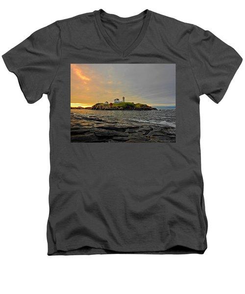 Nubble Lighthouse Men's V-Neck T-Shirt