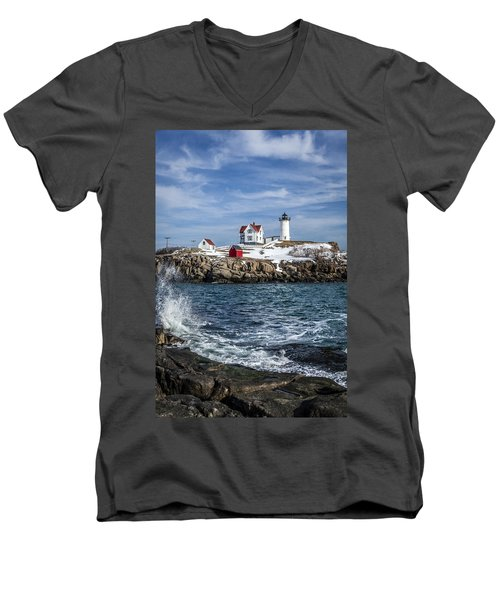 Nubble Lighthouse Winter Men's V-Neck T-Shirt