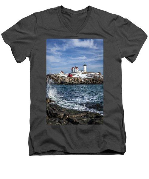 Nubble Lighthouse Winter Men's V-Neck T-Shirt
