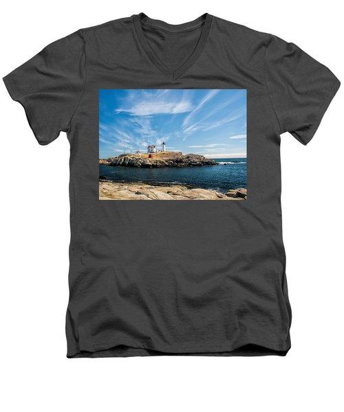 Nubble Lighthouse With Dramatic Clouds Men's V-Neck T-Shirt by Nancy De Flon