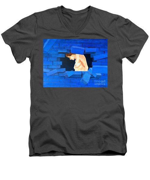 Nude Lady Through Exploding Wall Men's V-Neck T-Shirt