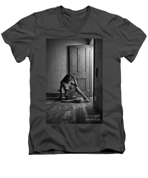 Nude Woman Sitting By Doorway In Abandoned Room Men's V-Neck T-Shirt
