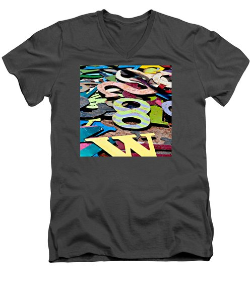 Number 8 Men's V-Neck T-Shirt by Art Block Collections