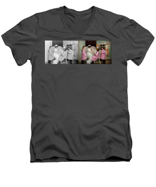 Men's V-Neck T-Shirt featuring the photograph Nurse - Playing Nurse 1918 - Side By Side by Mike Savad