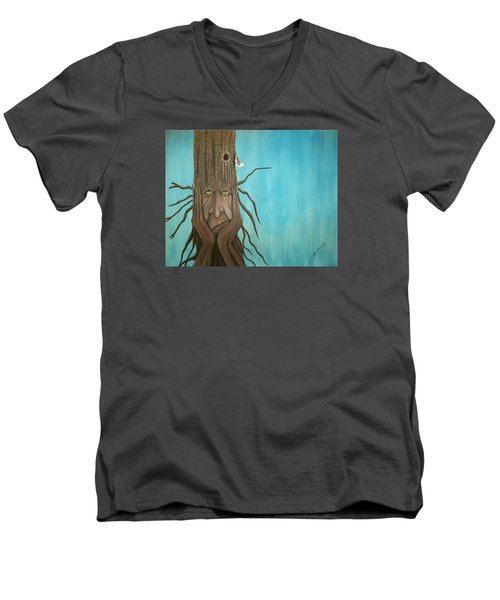 Men's V-Neck T-Shirt featuring the painting Nuthatch by Edwin Alverio