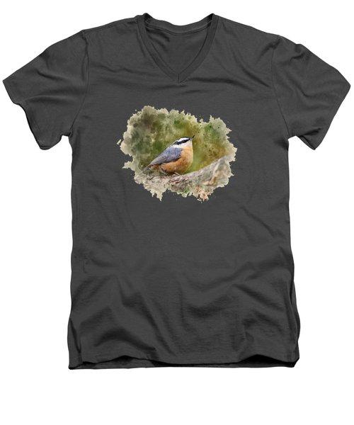 Nuthatch Watercolor Art Men's V-Neck T-Shirt