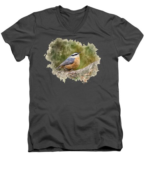 Nuthatch Watercolor Art Men's V-Neck T-Shirt