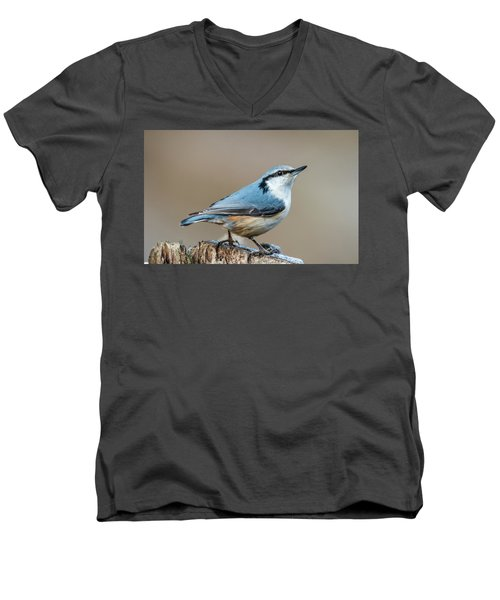 Men's V-Neck T-Shirt featuring the photograph Nuthatch's Pose by Torbjorn Swenelius
