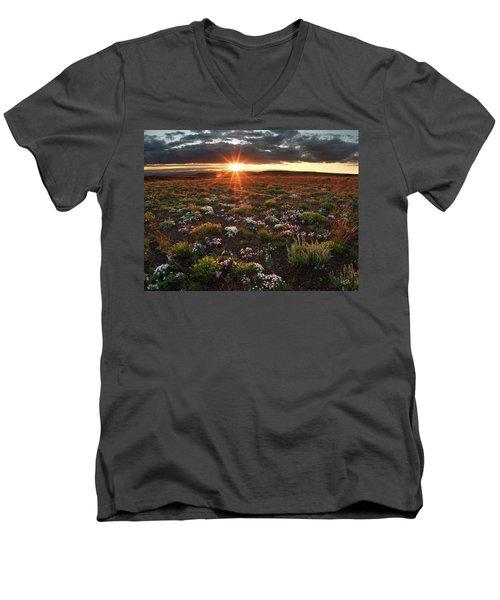 Men's V-Neck T-Shirt featuring the photograph Nuttalls Linanthastrum by Leland D Howard
