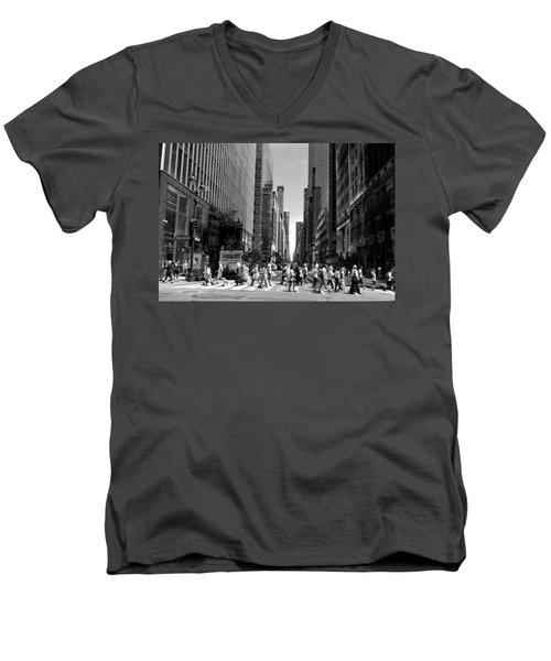 Nyc 42nd Street Crosswalk Men's V-Neck T-Shirt by Matt Harang