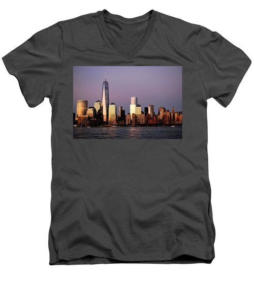 Nyc Skyline At Dusk Men's V-Neck T-Shirt