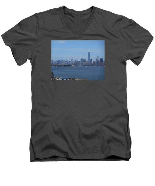 Nyc Skyline Men's V-Neck T-Shirt by Kathleen Peck