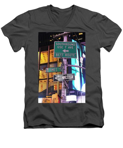 Nyc Street Sign Men's V-Neck T-Shirt by Kate Purdy