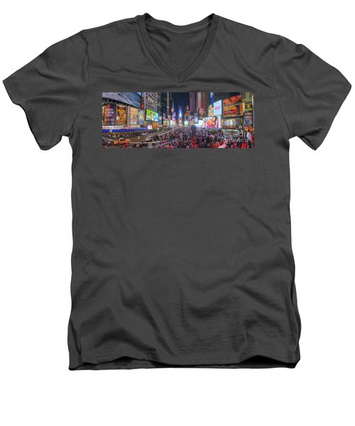 Nyc Times Square Panorama Men's V-Neck T-Shirt