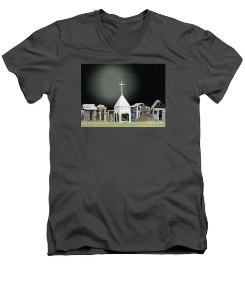 Men's V-Neck T-Shirt featuring the digital art O Little Town by Lyric Lucas