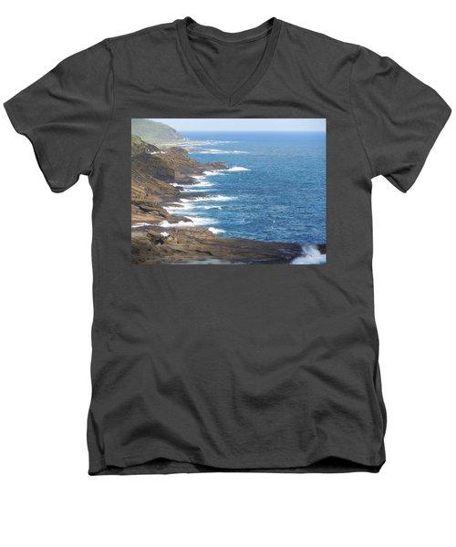 Oahu Coastline Men's V-Neck T-Shirt by Karen J Shine