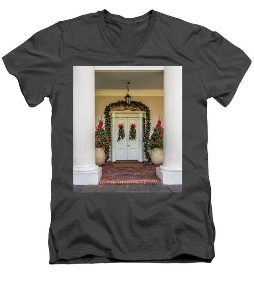 Men's V-Neck T-Shirt featuring the photograph Oak Alley Plantation Doors by Paul Freidlund