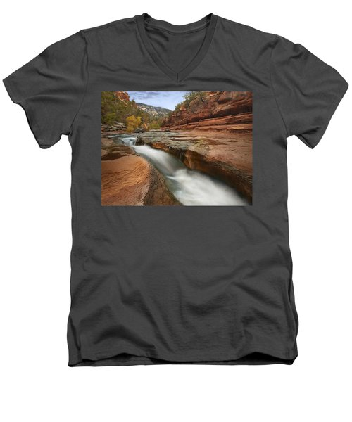 Oak Creek In Slide Rock State Park Men's V-Neck T-Shirt
