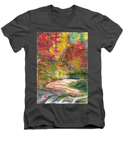 Oak Creek West Fork Men's V-Neck T-Shirt by Eric Samuelson