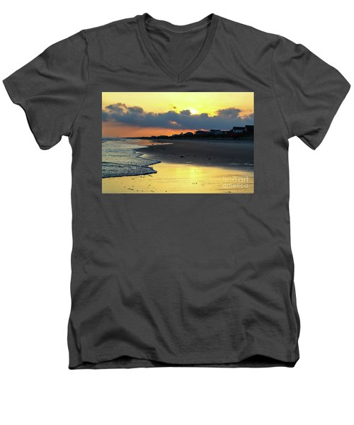 Oak Island Yellow Sunset Men's V-Neck T-Shirt