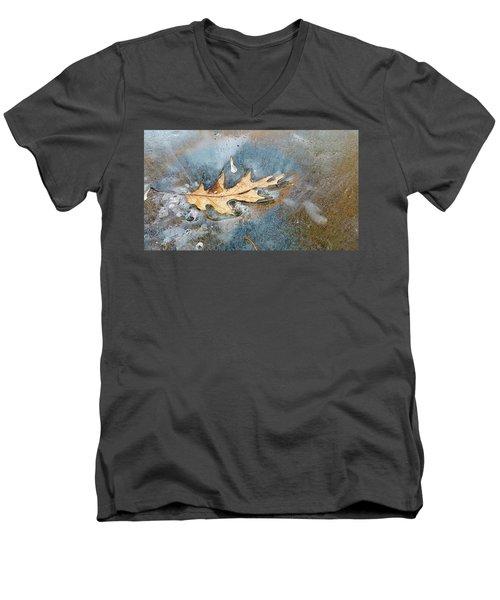 Oak Leaf Frozen On Ice Men's V-Neck T-Shirt