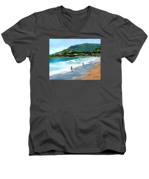 Oak Street Beach, Laguna Beach Men's V-Neck T-Shirt by Alice Leggett